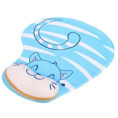 Azul de la almohadilla de ratón con comodidad muñeca del gel estera de soporte de apoyo para la PC de la computadora portátil