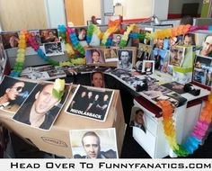 An inspiring workplace. Lol definitely need to do this for the next birthday! Coworker Pranks, Work Pranks, Office Humor, Office Prank, Office Fun, Senior Pranks, Vacations To Go, Nicolas Cage, Good Humor