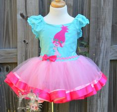 Inspired Trolls Poppy Tutu Dress, Birthday tutu dress, Inspired Trolls Pageant Dress, photography prop