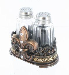 Amazon.com: Fleur De Lis Salt & Pepper Shaker Set with Glass Shakers - Tuscan Creole Decor: Kitchen & Dining