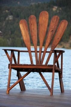 Adirondack Chair made with Canoe Paddles Cabin Lake House