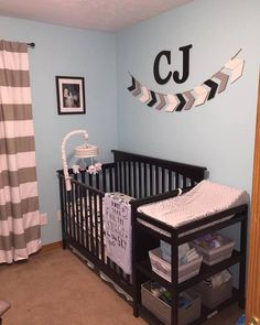 Baby boy room crib banner crib garland name above crib blue black white nursery black and white cross gray baby boy bedroom black crib Baby Boys, Baby Boy Rooms, Baby Boy Nurseries, Baby Cribs, Black White Nursery, Grey Nursery Boy, Nursery Room, Nursery Ideas, Bedroom Black