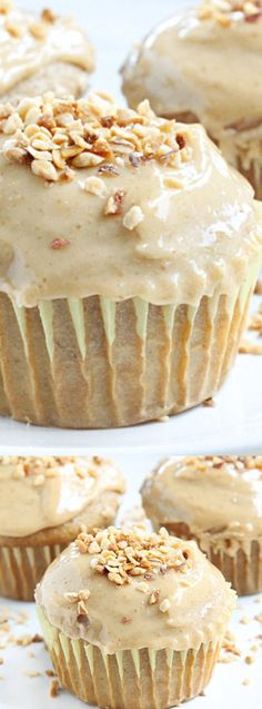 These Banana Cupcakes with Peanut Butter Frosting from Table for Seven are a soft delicious banana cupcake with a creamy and easy peanut butter frosting.