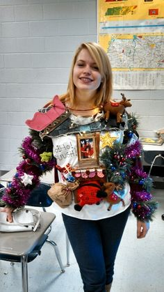 DIY Kleidung Alicia is so going to win the ugly Christmas sweater contest. Homemade Ugly Christmas Sweater, Ugly Christmas Sweater Women, Christmas Sweaters For Women, Xmas Sweaters, Ugliest Christmas Sweater, Christmas Jumpers, Cute Christmas Outfits, Christmas Costumes, Christmas Stuff