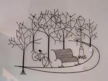 wanddekoration metall baum in park mit farad
