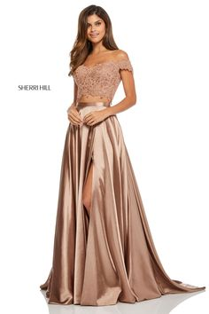 Extraordinary Sherri Hill two piece prom dress 52567 is superb choice for this years prom as it showcases an off the shoulder crop top fully embellished. 2 Piece Formal Dresses, Grad Dresses Short, 2 Piece Prom Dress, Cute Prom Dresses, Prom Dresses For Teens, Buy Dress, Two Piece Bridesmaid Dresses, Chiffon Dresses, Bridesmaid Gowns