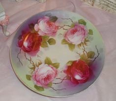 vintage plate hand painted PINK ROSES - Wreath of Cabbage Roses - Shabby - Victorian via Etsy