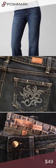 "Paige jeans - Robertson style - size 25 Amazing Robertson bootcut style Paige brand jeans. Inseam 32"" - these jeans are beautiful. Slightly distressed at pockets and edges. They are in excellent condition. Beautiful embroidery on the back pockets. Rise 8"" Paige Jeans Jeans"