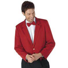 Giacca cameriere Rosso Natale, modello Spencer unisex con collo a punta in dacron e un bottone. Tessuto 100% poliestere. Disponibile in varie taglie.