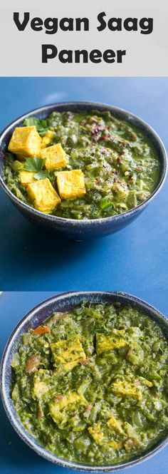 Vegan Saag Paneer. A creamy spinach or kale curry with tofu. You won't miss palak paneer with this dairy-free version that packs 17g of protein per serving. via @yupitsvegan