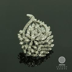 18ct White Gold Diamond Spray Brooch Comprising Round Cut Diamonds