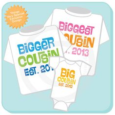 Set of 3 Biggest Cousin Bigger Cousin and Big by ThingsVerySpecial, $42.99