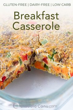 This breakfast casserole recipe is easy to throw together and it can be made ahead of time. It's gluten-free, dairy-free, low carb and full of nutrients. Healthy Breakfast Recipes, Easy Healthy Recipes, Brunch Recipes, Easy Meals, Healthy Brunch, Sweets Recipes, Meat Recipes, Free Recipes, Low Carb Breakfast Casserole