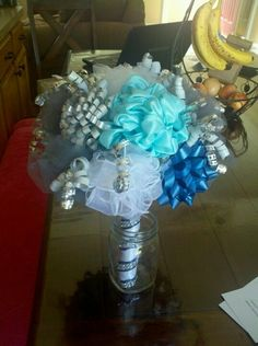 Bridal Shower ribbon bouquet - Save ribbons from presents to make the bouquet for wedding rehearsal Wedding Rehearsal Bouquet, Bridal Shower Bouquet, Unique Bridal Shower, Bridal Shower Centerpieces, Diy Wedding Bouquet, Bridal Shower Games, Bridal Shower Invitations, Bridal Showers, Diy Shower