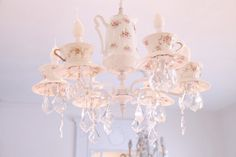 I love this!    Gorgeous Antique French Limoges China Shabbyfufu Teacup Chandelier