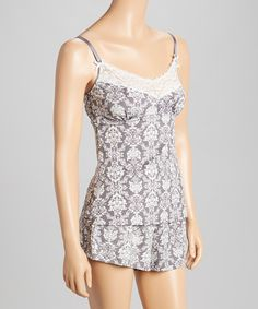 c044fca73e Look at this Gray Damask Camisole   Pajama Shorts - Women by Laura Ashley