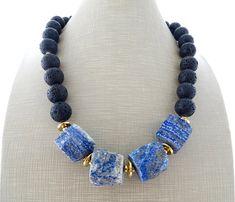 Lapis lazuli necklace, black lava necklace, statement necklace, blue chunky necklace, bold choker, raw stone jewelry, modern jewelry, bijoux
