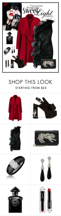 """""""MSGM One Shoulder Lace Dress Look"""" by romaboots-1 ❤ liked on Polyvore featuring Donna Karan, N°21, MSGM, Les Petits Joueurs, AZ Collection, Kenneth Jay Lane and Guerlain"""