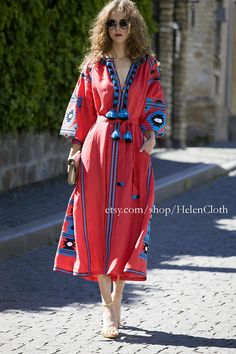 Kaftan Midi Boho Dress Ukrainian Vyshyvanka Dress Embroidered Women Dress Mexican Red Dress Bohemian Abaya Caftan. IN STOCK Free Delivery