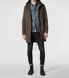 fall , winter , parka coat / jacket , jean jacket , jeans , leather boots