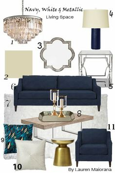 """Our Quatrefoil Mirror & Cayman Coffee Table are sophisticated additions to @inspireme_interiordesign's """"Mixed Metallics"""" mood board. #livingroom"""