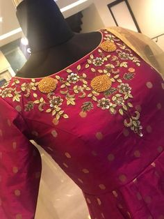 Beautiful wine color floor length anarkali dress with floret lata design hand embroidery gold thread and kundan work on yoke.  Price : 6500 INR.To order whatsapp 7013728388. 25 July 2018