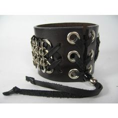 Chainmaille Cuff Black Leather Wristband Armor Bracelet Men's Womens Wide Wrap Chain Mail
