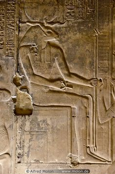 Egyptian god Khnum bas-relief Upper Nile Valley / Temple of Seti in Abydos