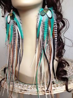 14 inch Feather Earrings Long Natural Turquoise Hippie Goddess, Big and Full Feather Jewelry Summer Festival Earrings, Real Feather Earrings Feather Jewelry, Feather Earrings, Boho Jewelry, Jewlery, Handmade Jewelry, Jewelry Design, Hippie Goddess, Bridesmaids Charms, Bridesmaid Accessories