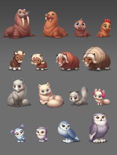 ArtStation - Characters, Playrix Games Cute Animal Drawings, Cute Drawings, Cute Animal Clipart, Character Art, Character Design, Jungle Illustration, Casual Art, 2d Game Art, Warrior Cats Fan Art