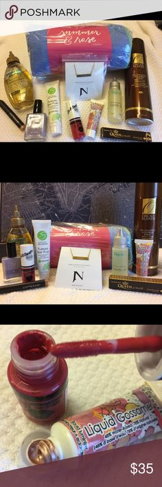 💐🎁Fabulous Bundle Set🎁💐 Treat yourself to this amazing bundle! This can also make for the perfect gift(s)! This bundle includes 11 items: Microfiber yoga towel, Dry shampoo spray, Dream tag necklace (18k gold plated), Flawless skin fluid, In-shower argon oil, Dead Sea mineral cuticle oil, Liptitude lip stain, (opened to check color, never used- smells AMAZING), Liquid luminizer (opened to check color, never used), Concealer crayon in Bisque, Nail polish in Elegantly Wasted, and tinted…
