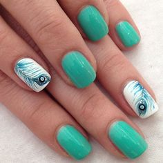 Feather nail art - 40  Examples of Feather Nail Art  <3 <3