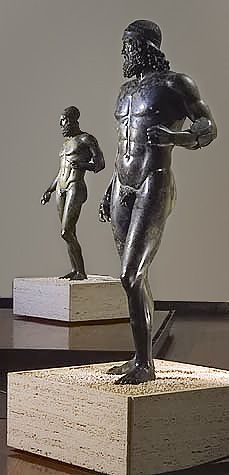 Riace bronzes. Statue A (foreground) and Statue B (background), from the sea off Riace, Italy, c. 460-450 B.C.E. (?), high (Museo Archaeologico Nazionale Reggio Calabria)