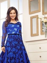 Blue Faux Georgette Bollywood Actress Neha Sharma Salwar Kameez