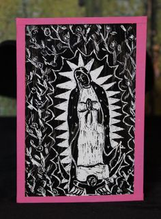 Hand Made Nuestra Señora de Guadalupe Reverse Painted on Glass Mexican Folk Art