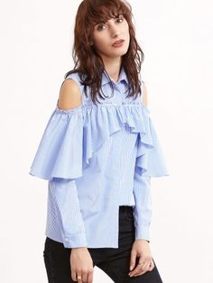 Blue And White Striped Open Shoulder Hidden Button Ruffle Blouse