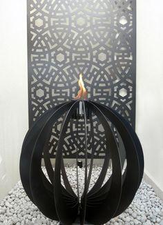 Zai laser cut metal screen | Fire Sculpture | www.watergardenwarehouse.com.au