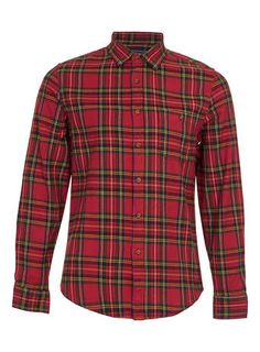 Red Tartan Long Sleeve Flannel Shirt