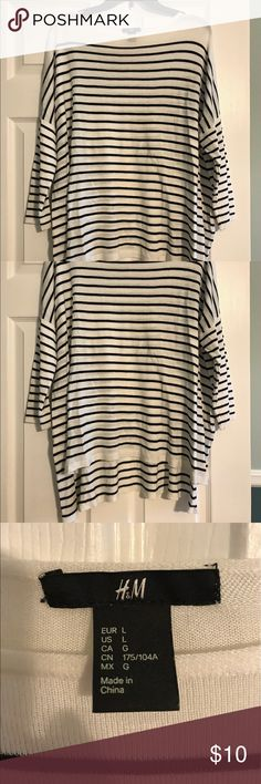 White and black striped top perfect with leggings Soft top with three quarter sleeves. Longer in the back to wear with leggings. H&M Pants Leggings