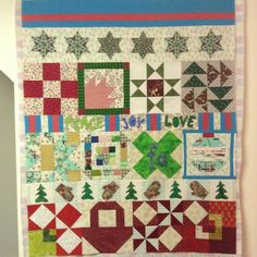 Last quilt top finish for 2016. A Christmas lap quilt made from special blocks from friends and family. Wishing you JOY on your journey in 2017! #christmasquilt #handmadememories #sewjoycreations