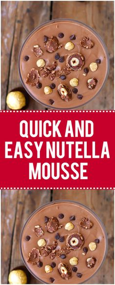 AdSense-A] This 3 ingredient dessert will win you over immediately. Nutella Mousse is a quick, easy, and delicious dessert! Ingredients 3 cups heavy cream⅓ cup cup Nutella Instructions Pour heavy whipping cream into the Easy Smoothie Recipes, Snack Recipes, Dessert Recipes, Healthy Recipes, Healthy Desserts, Dessert Ideas, Cake Recipes, Healthy Food, Nutella Snacks