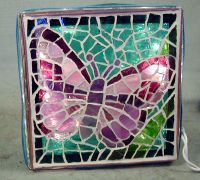 sm glass block butterfly mosaics - I make custom pieces to order at 1/2 catalog pricing.  Contact me via Facebook.  MiMorRyIs Creations.