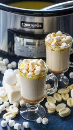 This Caramel White Hot Chocolate Recipe is the perfect Crockpot Hot Drink Recipe for cold Winter nights, Snow Days, Holidays, Thanksgiving, and Christmas!