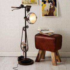 After the great success of our industrial pedal bike stools we have added these cool upcycled bike lamps to the range. The ideal gifts for bicycle enthusiasts. Industrial Style Lighting, Vintage Industrial Decor, Rustic Lighting, Industrial Interiors, Modern Industrial, Lighting Ideas, Outdoor Lighting, Industrial Design, Unusual Floor Lamps