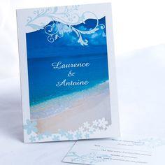 Herz Der See Und Spur Des Strand Blau Hochzeit Einladungskarte P OPB015  Watercolor Hochzeit Tischdeko Inspiration