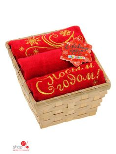 Набор полотенец в корзинке Collorista С Новым годом! 33х42 см, 3 шт Joy, цвет красный