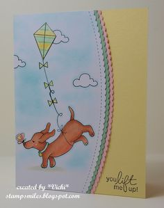 You Lift me up Dachshund Card by Vicki | Delightful Doxies stamp set by Newton's Nook Designs #newtonsnook