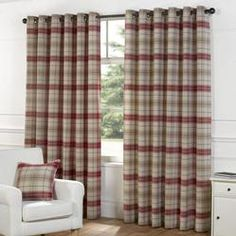 Urban Living Isla Berry Red Check Ready Made Lined Eyelet Ring Top Curtains