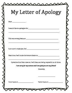 Behavior reflection think sheet and apology letter behavior apology letter thecheapjerseys