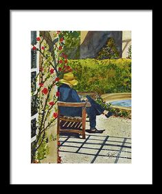 """This is a framed fine art print of and original watercolor painted by Terri Robertson.  The original of """"The Lady In The Garden"""", is sold, but you can purchase a beautiful print in a variety of sizes at: http://fineartamerica.com/products/the-lady-in-the-garden-terri-robertson-tote-bag.html"""